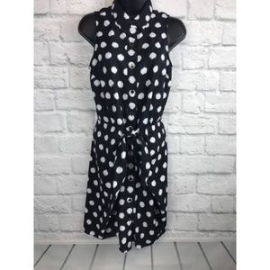 Michael Kors Navy Polka Dot Wrap knot dress